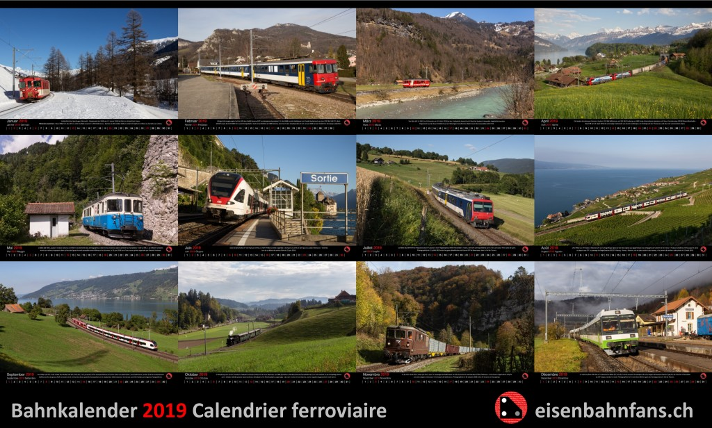 Bahnkalender 2019 / Calendrier ferroviaire 2019